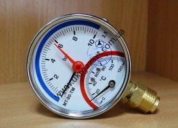 Термоманометры (манометры с дополнительной температурной шкалой) радиальные МТ–80–ТМ-Р