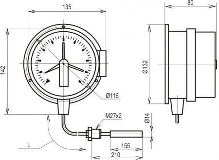 Термометр ТМП-100С термометр манометрический ТМП-100 С термометрсигнализирующий ТМП-100С термометр электроконтактный...